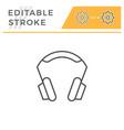 headphones editable stroke line icon vector image