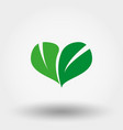 heart of green leaves icon flat vector image vector image