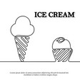 ice cream is black continuous line drawing vector image vector image