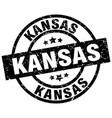 kansas black round grunge stamp vector image vector image