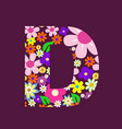 letter of beautiful flowers d vector image