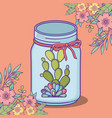 mason jar flowers and cactus with bow decoration vector image vector image