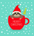 merry christmas fir tree sloth sitting in red vector image vector image