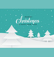 merry christmas papercut style tree landscape vector image