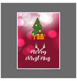 merry christmas red glowing background with gift vector image