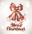 Merry Christmas Xmas bells with bow sketch vector image