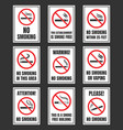 no smoking sign set smoking is prohibited vector image vector image