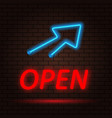 open neon sign and arrow on brick wall background vector image