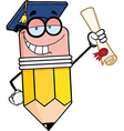 Pencil Character Graduate Holding A Diploma vector image