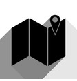 pin on the map black icon with two flat vector image vector image