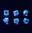 plastic or glass cubes glowing with neon light set vector image vector image