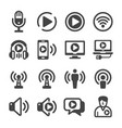 podcast icon set vector image