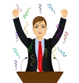 politician man celebrating with fists up at podium vector image vector image