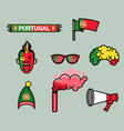 portugal soccer supporter gear set vector image vector image