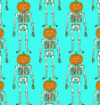 Sketch skeleton with curved pumpkin head vector image