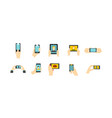 smartphone in hand icon set flat style vector image