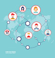 social network concept people avatars on world vector image
