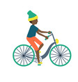 teenager boy on a bicycle cartoon on a vector image