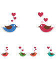 Two cute birds keep the word love isolated on vector image