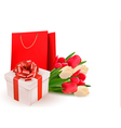 Valentines day background with gift box and vector image