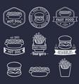 Vintage fast food logos set retro eating