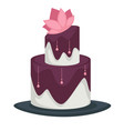 wedding cake with layers and lotus flower purple vector image vector image