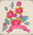 Greeting card with floral bunch and ribbon with vector image