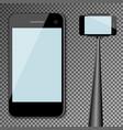 mockup template black modern realistic smartphone vector image
