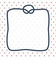 Navy blue rope square frame with a knot on dotted vector image