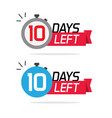10 days left or to go sale countdown icons vector image vector image