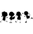 a set of silhouette children vector image vector image