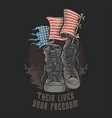 american usa veterans boots shoes and flag vector image