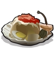 Appetizing food icon in cartoon style