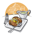 baked potato with sauce vector image vector image