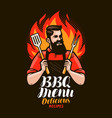 bbq barbecue design of menu for restaurant or vector image vector image