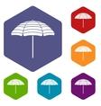 Beach umbrella icons set vector image vector image