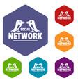 bird social network icons hexahedron vector image vector image