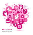 Breast cancer of pink icons with