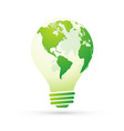 bulb with globe energy saving concept view of vector image