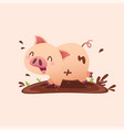 cartoon pig playing in mud vector image
