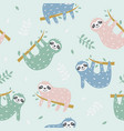 childish seamless pattern with cute sloth vector image