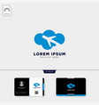 cloud plane logo template and free business card vector image