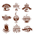 coffee cups for shop or cafeteria icons vector image vector image