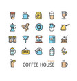 coffee house sign color thin line icon set vector image vector image