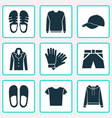dress icons set with shirt coat glove and other vector image