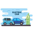 electric vehicles cars in charging station road vector image vector image
