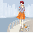 fashion girl walks with dog vector image