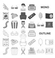 films and cinema monochrom icons in set collection vector image vector image