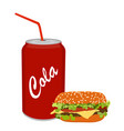 fresh tasty burger hamburger and soda isolated on vector image