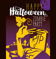 halloween banner with zombie arm and grave vector image vector image